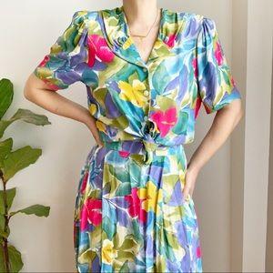 Vtg Union Label Multicolored Skirt Blouse Set  8